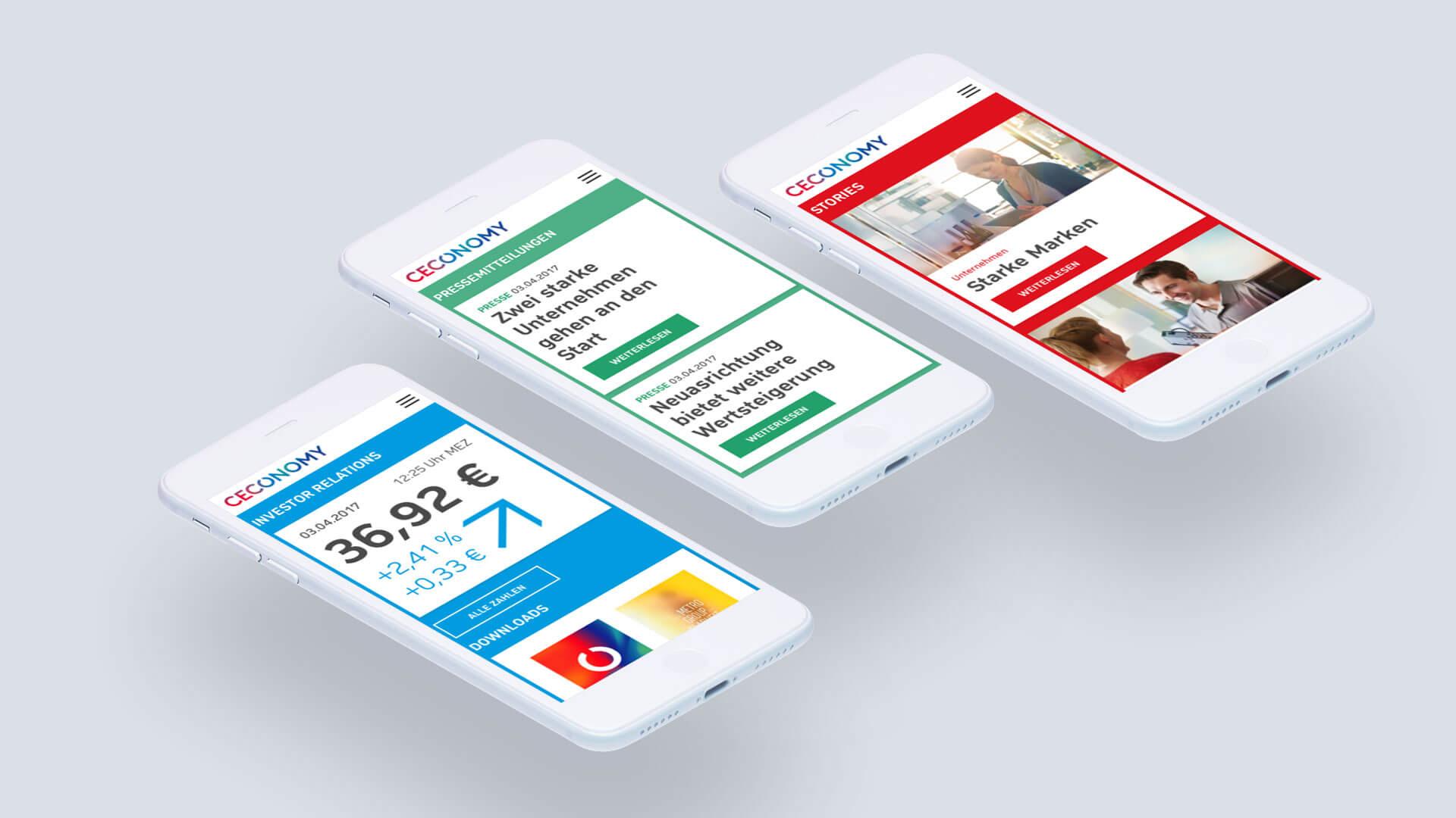 CECONOMY Bereiche der Website angezeigt auf mobilem Endgerät