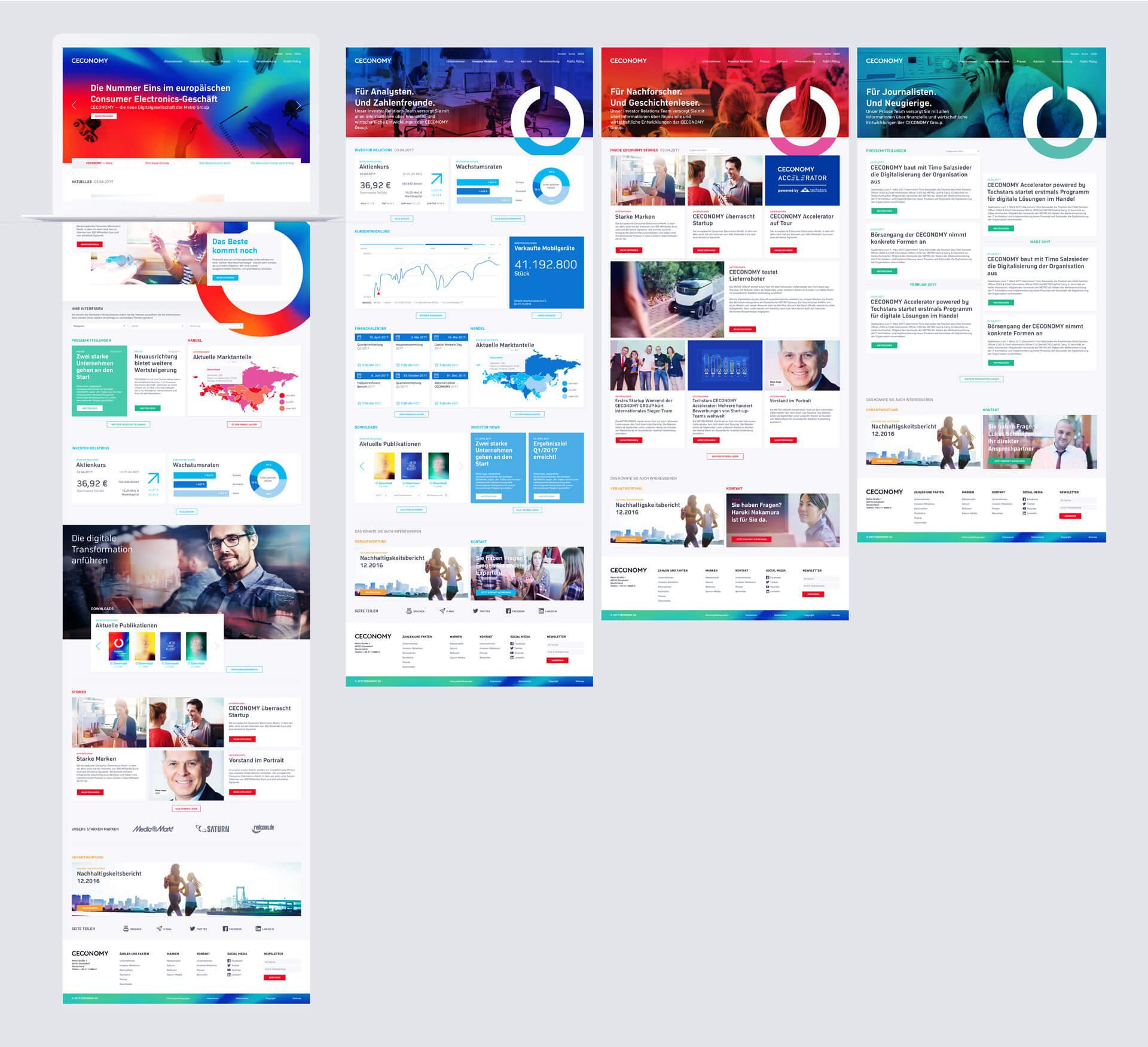CECONOMY Interface Design Hauptbereiche der Website in der Gesamtansicht MacBook